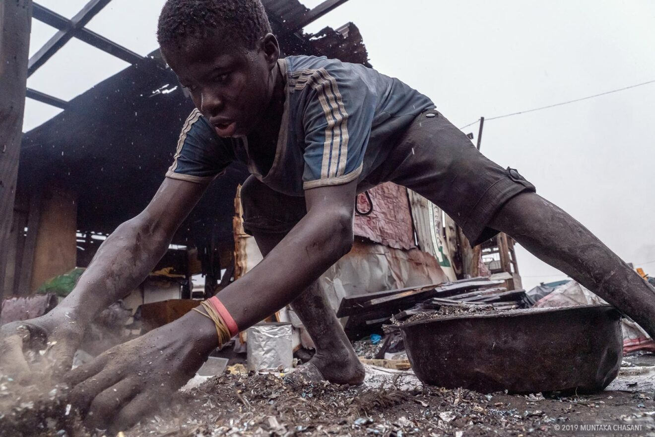scrap worker at Agbogbloshie, Ghana