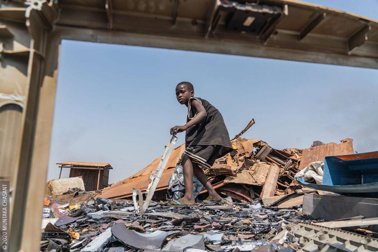 Agbogbloshie children: 9-year-old Kwado is engaged in hazardous child labour on the fringes of Agbogbloshie, Ghana. © 2020 Muntaka Chasant