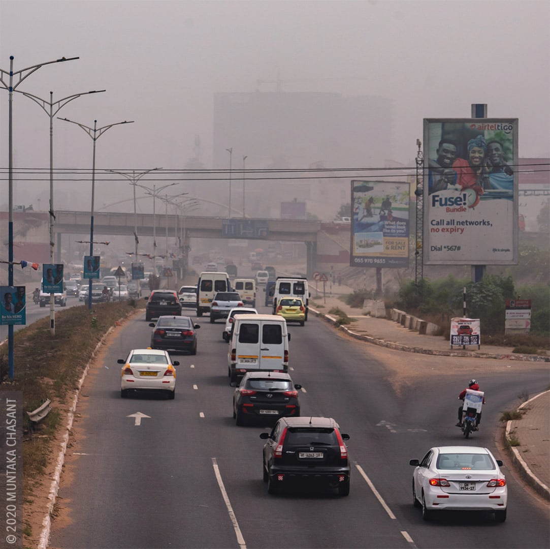 Air Pollution in Ghana. Accra was blanketed in dust-laden winds from the Sahara Desert in early 2020. © 2020 Muntaka Chasant