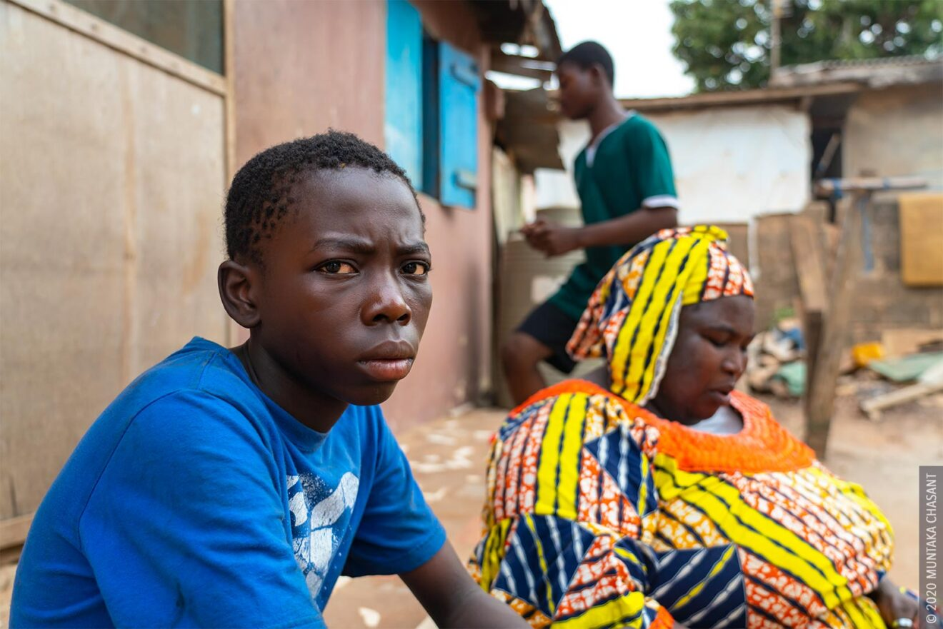 Malik, 14 years, at home now with his family in Madina, Accra. Malik had lived and worked in a hazardous environment at Agbogbloshie since August 2016.