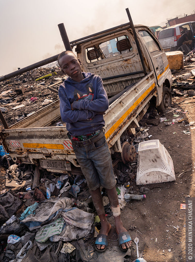 Child labour: Adama is 13 years old and engaged in hazardous child labour at Agbogbloshie, Ghana. © 2020 Muntaka Chasant