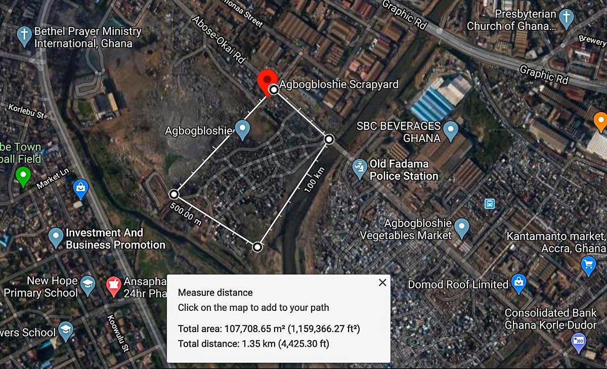 Agbogbloshie scrapyard total area