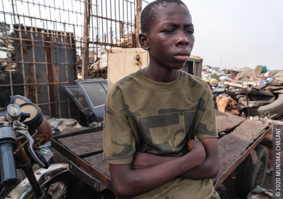 Malik, 14 years, went missing for 6 months and found on February 19, 2020. He left home again on March 15, 2020. Maliks says he prefers e-waste mining over school and should be left to live by his own rules. © 2020 Muntaka Chasant