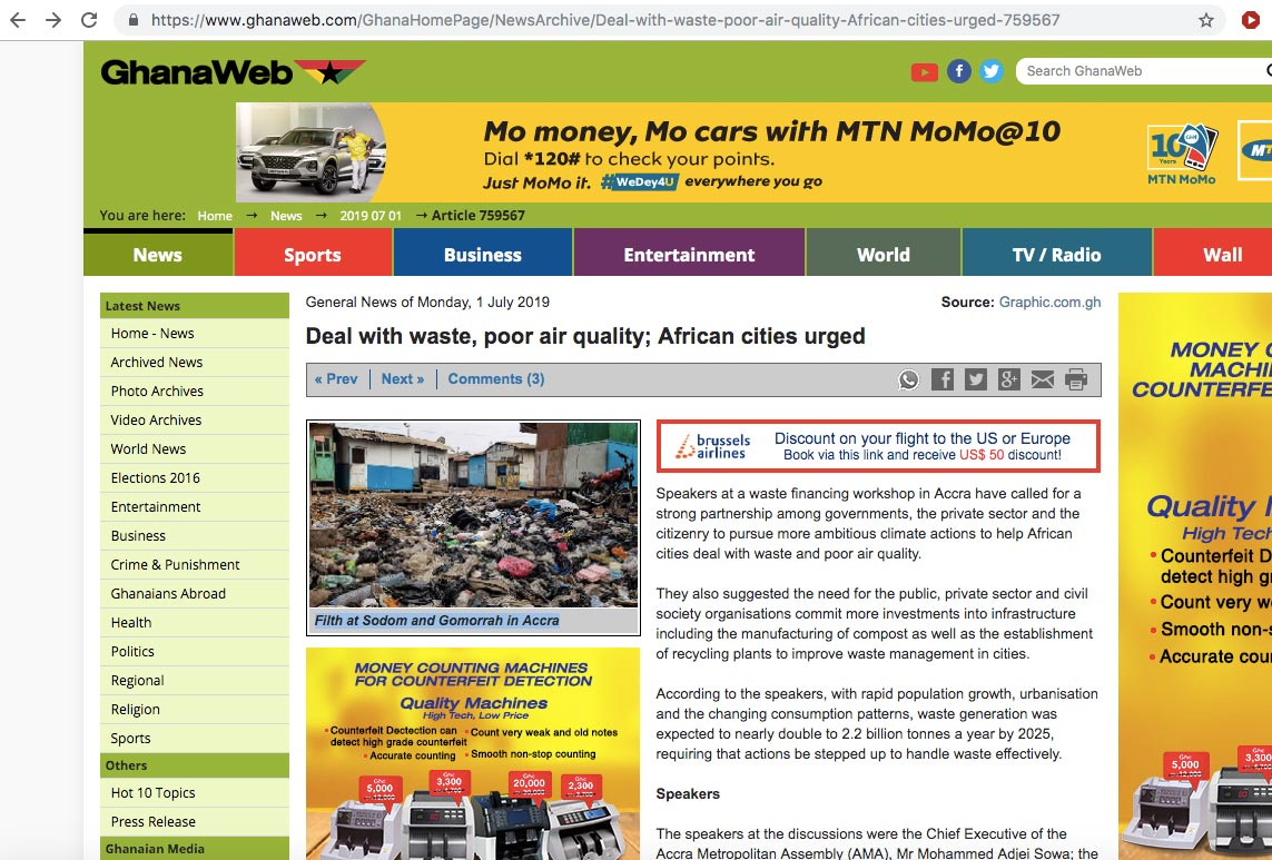 GHANAWEB.COM, Ghana's top online news website, used the photo above for a report without the permission of Muntaka Chasant, the photographer. They also did not credit it. They scraped the photo from the internet. It was quickly credited after an email went sent to them threatening a lawsuit.