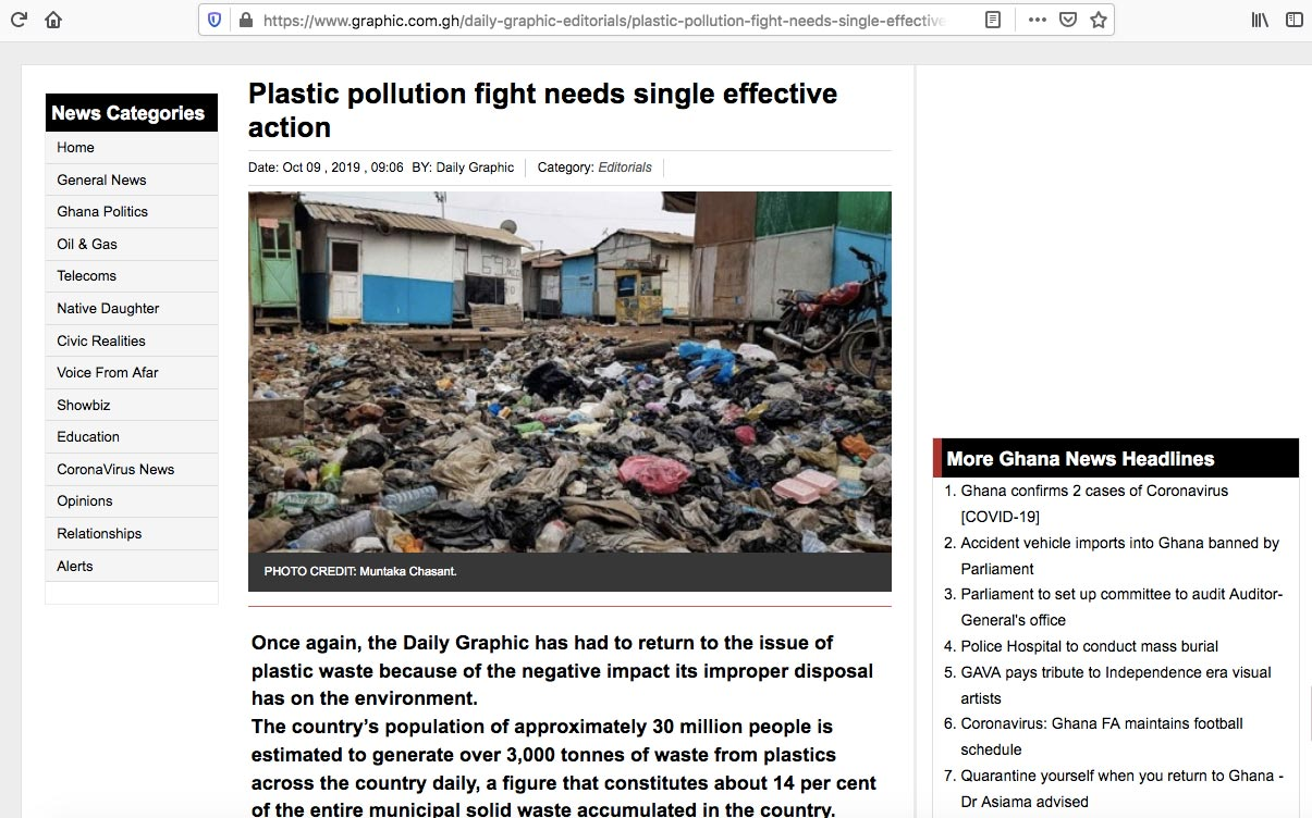 Daily Graphic Online (www.graphic.com.gh), Ghana's largest newspaper's website, used the photo above for its editorial without the permission of Muntaka Chasant. They scraped the photo from a website and did not bother to credit it. It was rather captioned as 'library photo.' The photo was credited to him after he complained.