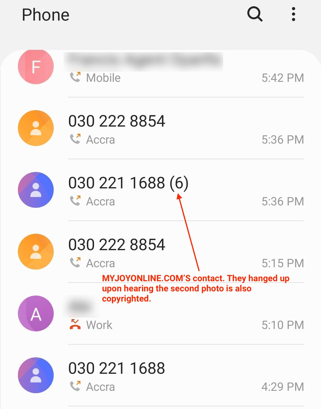 Phone records showing the number of times I called them on March 11, 2020. They stopped answering after hanging up on hearing that the second photo is also copyrighted.
