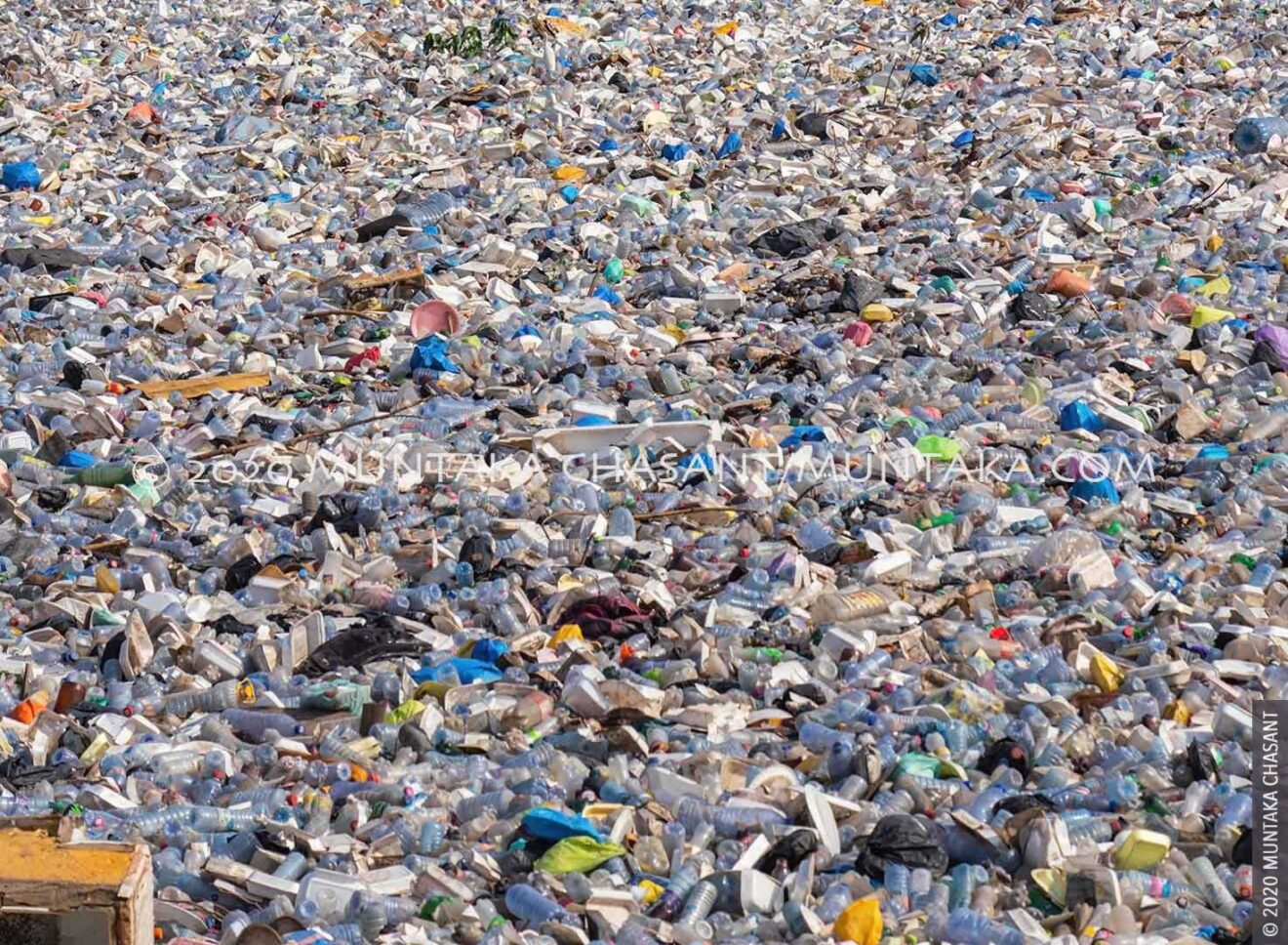The plastic-waste choked Korle Lagoon near the center of Accra, Ghana's capital city. Ghana is facing a plastic waste crisis. © 2020 Muntaka Chasant