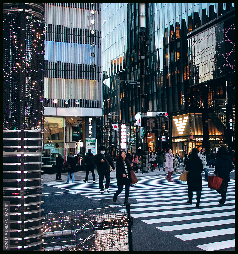 Tokyo Street Photography: Ginza, Tokyo, Japan. Ginza is the most expensive area in Japan, with about ¥57.7 million ($546,000) per square meter in 2020. © 2016 Muntaka Chasant