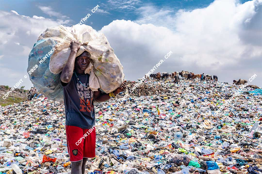 A man carries plastic bottles he had collected from a nearby polluted lagoon. Plastic waste collection is a major source of livelihood for many people in the developing world. Copyright © 2020 Muntaka Chasant