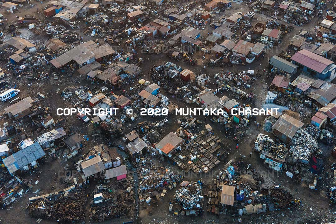 Aerial view of the Agbogbloshie Scrapyard in late July 2020. Copyright © 2020 Muntaka Chasant