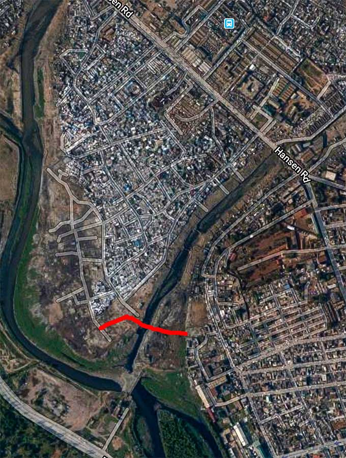Old Fadama Sodom and Gomorrah slum (Agbogbloshie) Google Satellite view. Accra, Ghana.