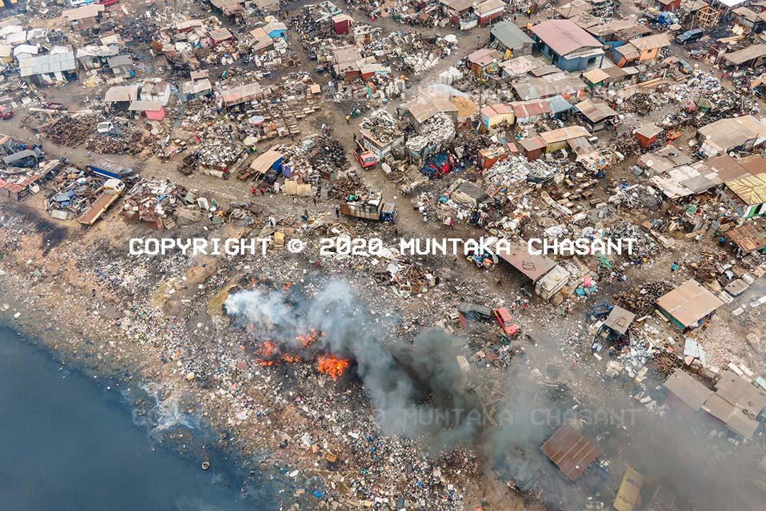 The Agbogbloshie Scrapyard on July 27, 2020. Copyright © 2020 Muntaka Chasant