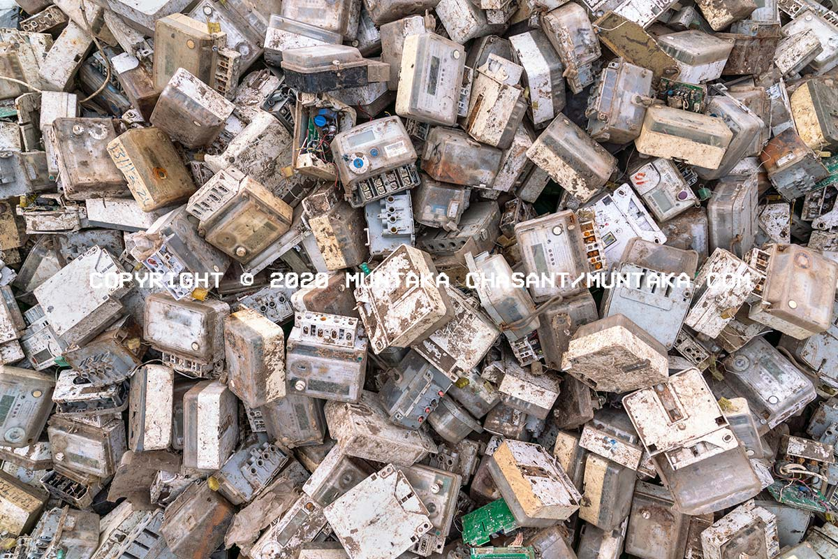 E-waste: Scrap electricity meters at Agbogbloshie. Copyright © 2020 Muntaka Chasant