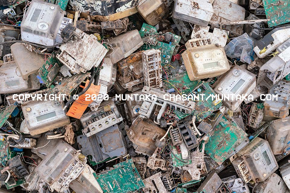 Scrap electricity meters in Ghana. Copyright © 2020 Muntaka Chasant