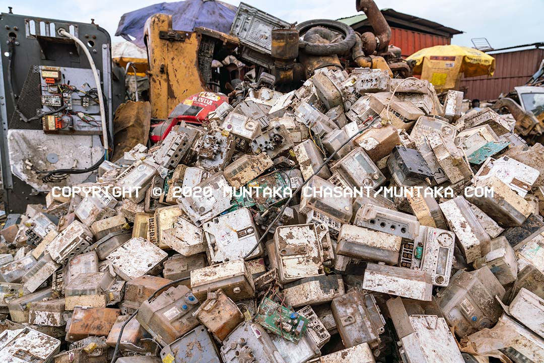 E-waste mountain: The Electricity Company of Ghana's energy meters at Agbogbloshie. Copyright © 2020 Muntaka Chasant
