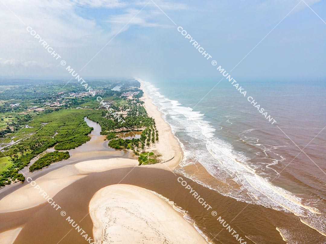 Estuaries in Ghana: Aerial view of the Amisa estuary in Ghana's Central Region. Copyright © 2020 Muntaka Chasant