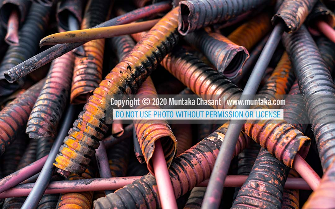 Recycled heliax coaxial cables at Agbogbloshie, Ghana. Copyright © 2020 Muntaka Chasant