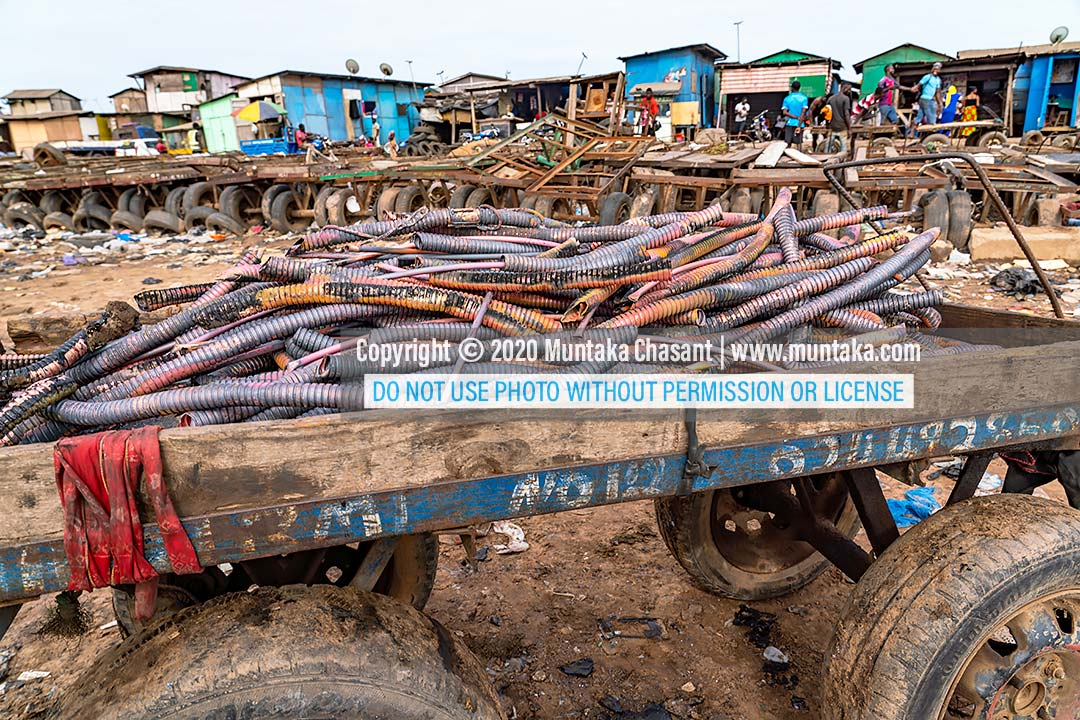 Urban mining: Recycled copper material on a cart at Agbogbloshie, Ghana. Copyright © 2020 Muntaka Chasant