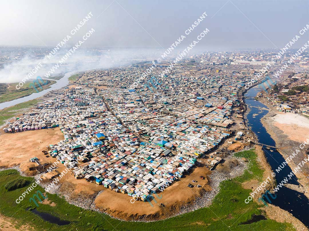 Old Fadama (Agbogbloshie): Aerial view of the Sodom and Gomorrah slum near the center of Accra. Copyright © 2020 Muntaka Chasant