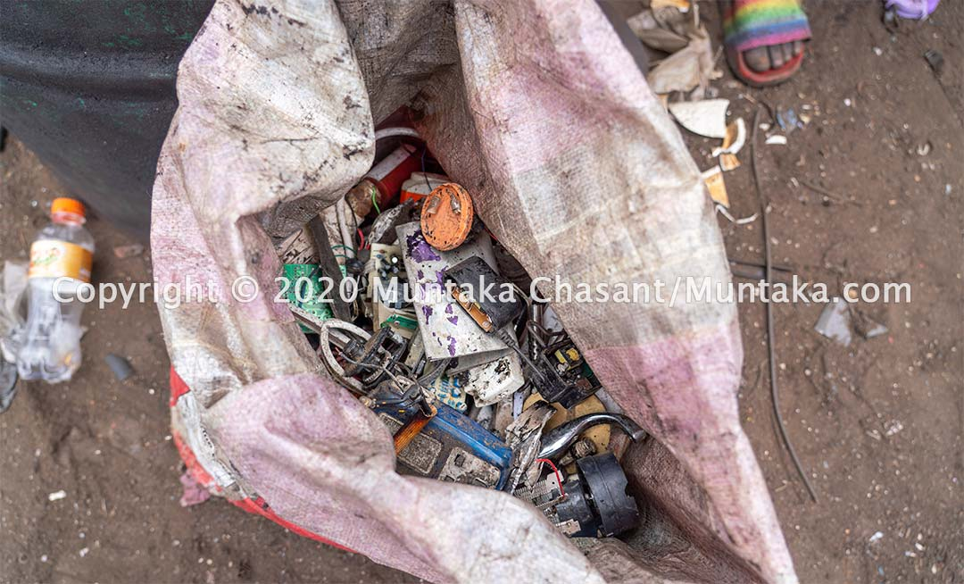 Recovered scrap metals and electrical wires at Agbogbloshie. Copyright © 2020 Muntaka Chasant
