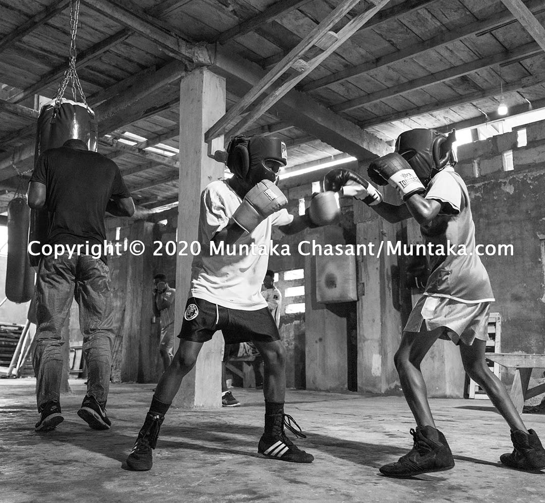 Boxing in Ghana: Young Amateur boxers train at the Charles Quartey Boxing Foundation in Accra, Ghana. Copyright © 2020 Muntaka Chasant