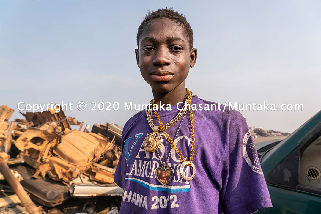 Child labour in Ghana: Benjamin Duodo, 14 years old, is engaged in hazardous child labour at Agbogbloshie, Ghana. Copyright © 2020 Muntaka Chasant