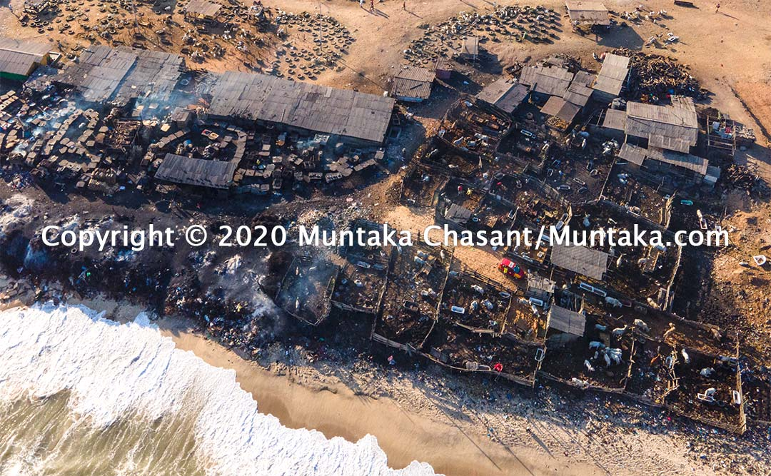"Aerial view of an ""abattoir"" at Jamestown that uses scrap tires to singe livestock. The Accra Metropolitan Assembly has done very little to tackle this problem, despite the public health risks. Copyright © 2020 Muntaka Chasant"