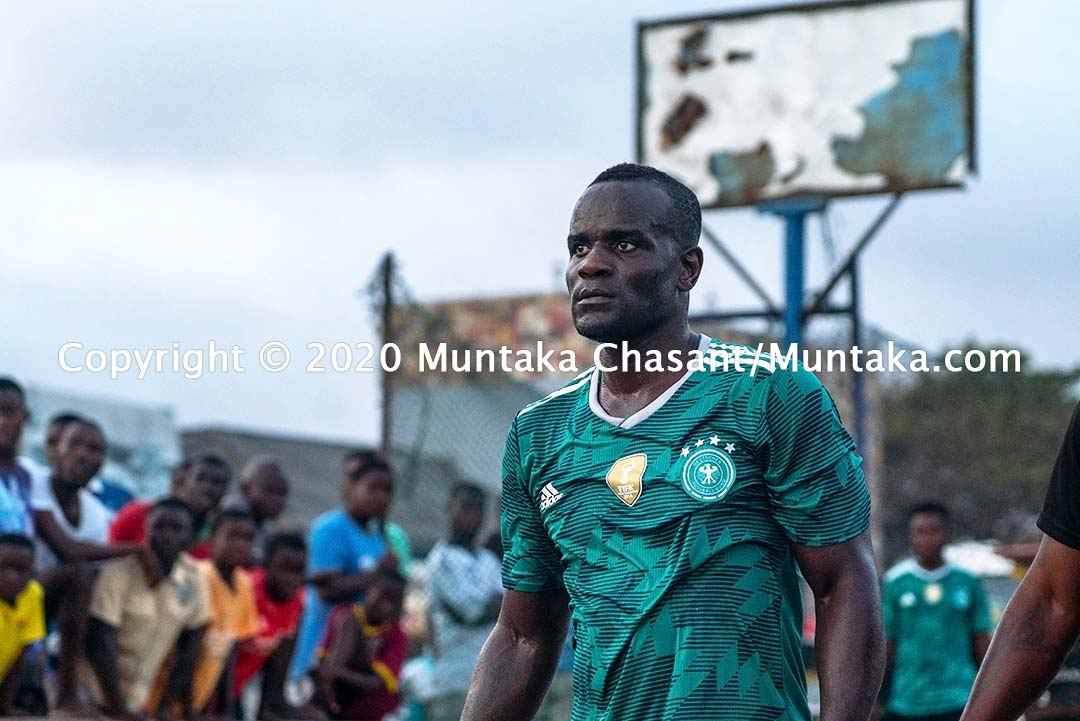 Ghanaian former professional boxer Joshua Clottey plays street football in Accra, Ghana. Copyright © 2020 Muntaka Chasant