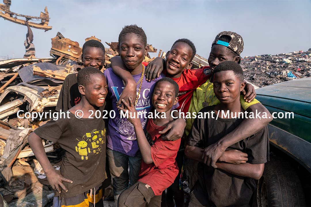 Youth poverty image: Children engaged in hazardous child labour having fun. Accra, Ghana. Copyright © 2020 Muntaka Chasant