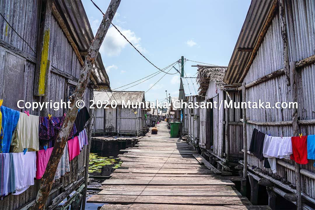 Nzulezo picture: Around 500 people permanently live at the Nzulezo stilt settlement in Jomoro District in the Western Region of Ghana. Copyright © 2020 Muntaka Chasant
