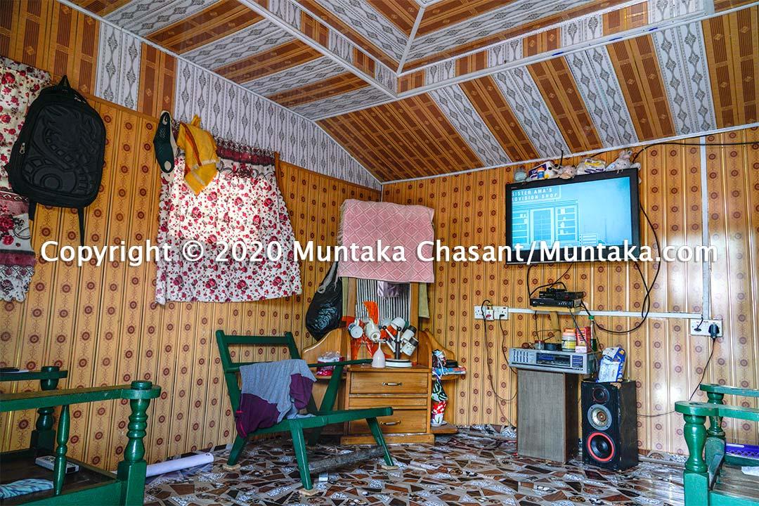 Nzulezo stilt home interior. Western Region, Ghana. Copyright © 2020 Muntaka Chasant