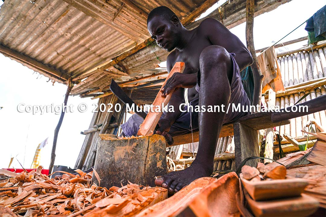 Mr. Ezuah is an artisan at Nzulezo, a stilt settlement in Western Ghana. His job is now at risk due to low tourist traffic caused by the coronavirus pandemic. Copyright © 2020 Muntaka Chasant