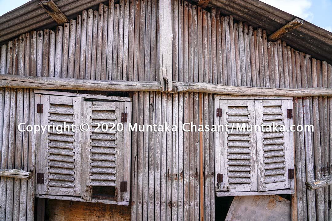 Nzulezo: A wooden structure at the Nzulezo (Nzulenzu) stilt village. Western Ghana. Copyright © 2020 Muntaka Chasant