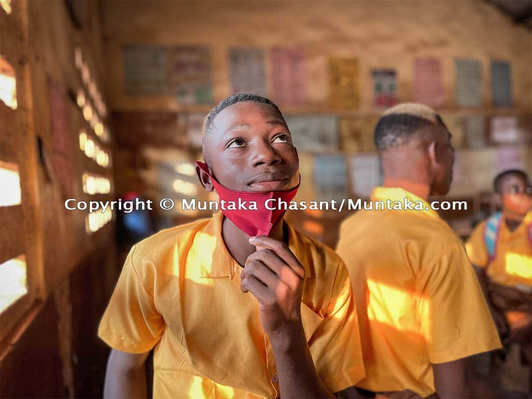 Benjamin Baidoo, 15 years old and from Assin Fosu, is engaged in hazardous child labour at Agbogbloshie, Ghana. He started basic school on January 20, 2021. A big milestone for him. Copyright © 2021 Muntaka Chasant
