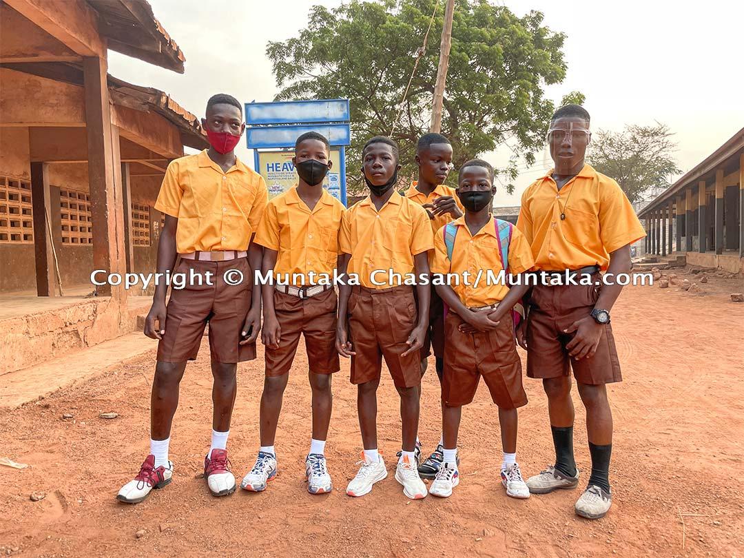 First day at school. From left to right: Benjamin Baidoo, 15 years, Bright Ankrah, 14, Emmanuel Osei, 15, Kingsford Sarfo, 14, Natus Frimpong, 13, and Gideon Asante, 17. January 20, 2021. Copyright @ 2021 Muntaka Chasant