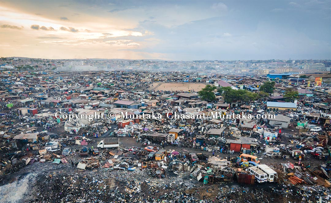 An aerial view showing the Agbogbloshie Scrapyard in June 2021. Copyright © Muntaka Chasant