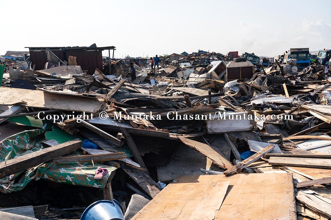 A scene shows the demolished Agbogbloshie Scrapyard on July 1, 2021. Copyright © Muntaka Chasant