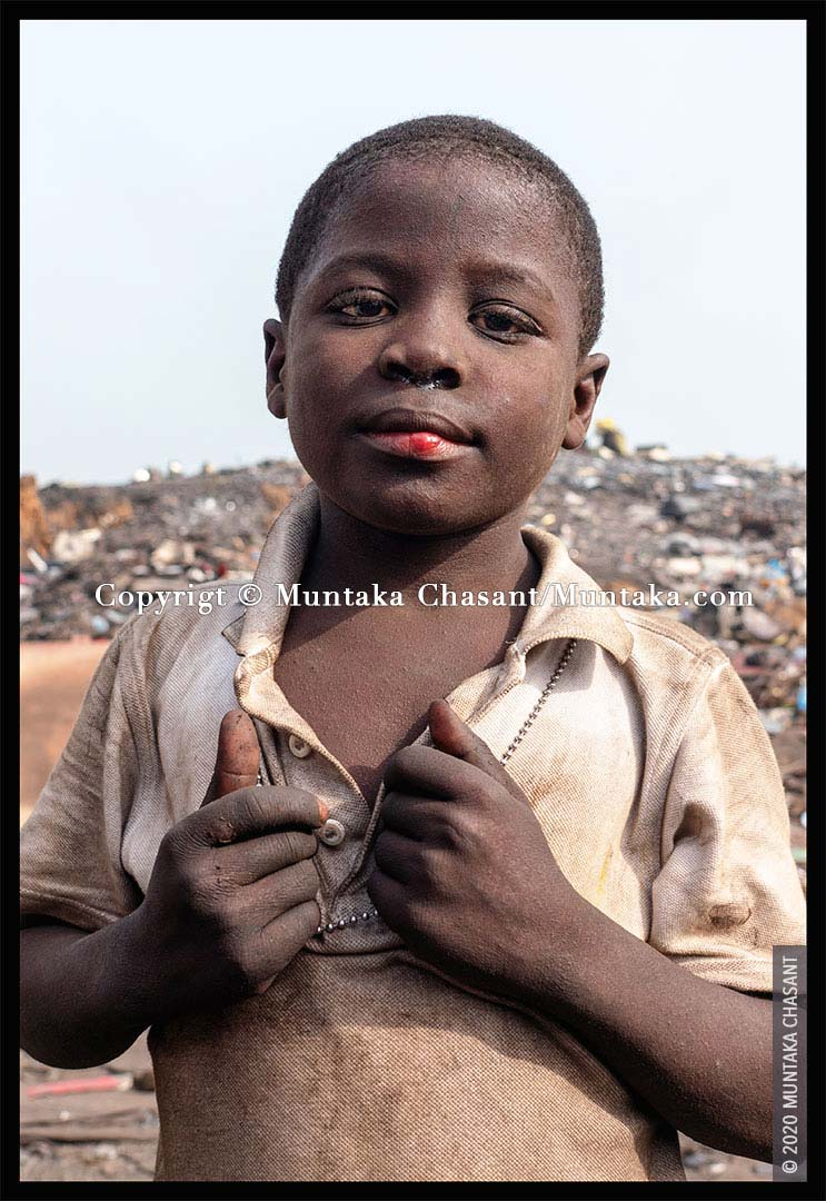 Poor Child: 'Akufo-Addo' is an 8 years old boy engaged in hazardous child labour at Agbogbloshie, Ghana. © 2020 Muntaka Chasant