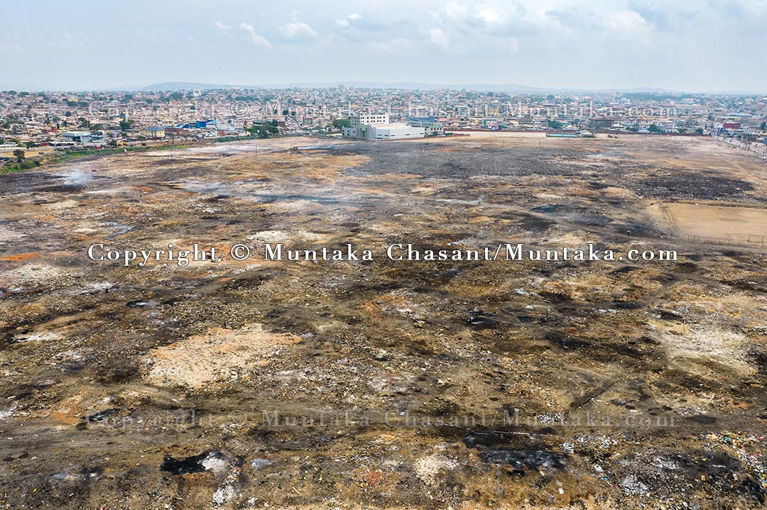 An aerial photo taken on August 1, 2021, shows a vast land reclaimed after the demolition of the Agbogbloshie Scrapyard and nearby sites. Copyright © Muntaka Chasant