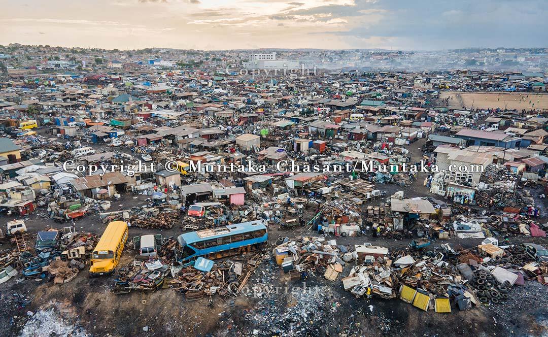 An aerial view taken on June 11, 2021, shows the Agbogbloshie Scrapyard. Copyright © 2021 Muntaka Chasant