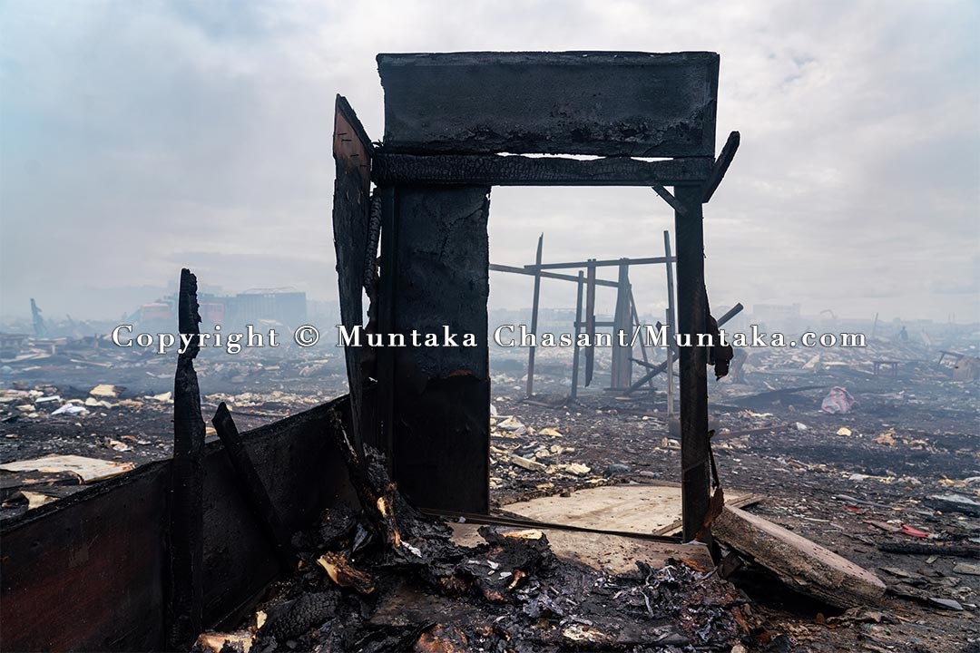 A scene shows a devastated landscape 3 days after the demolition of Agbogbloshie. Copyright © Muntaka Chasant