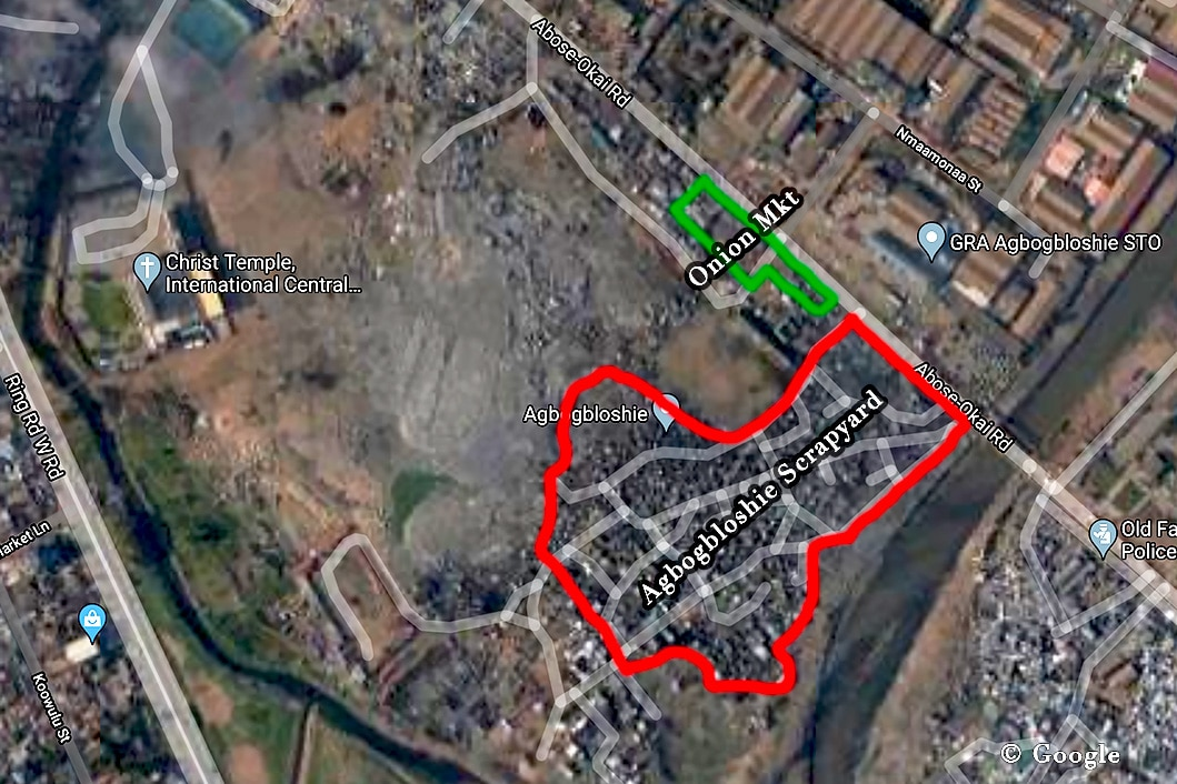 The Agbogbloshie scrapyard and the Onion Markets are roughly marked. © Google