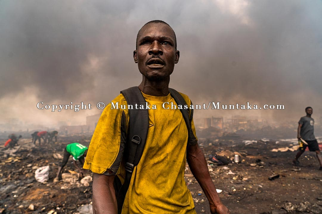Scrap dealers and the urban poor scramble for the last pieces of valuable metals — three days after the demolition of the Agbogbloshie Scrapyard. The Agbogbloshie Scrapyard was one of the largest e-waste and scrap metal processing areas in Africa. For more than a decade, the area was one of the frontlines of Western campaigns against e-waste — spawning documentaries and essays in magazines, academic journals, and in the world's top newspapers. In 2013, Pure Earth and Green Cross Switzerland listed Agbogbloshie among the top ten most toxic environments on the planet, along with places such as Chernobyl, Dzerzhinsk, and Hazaribagh.