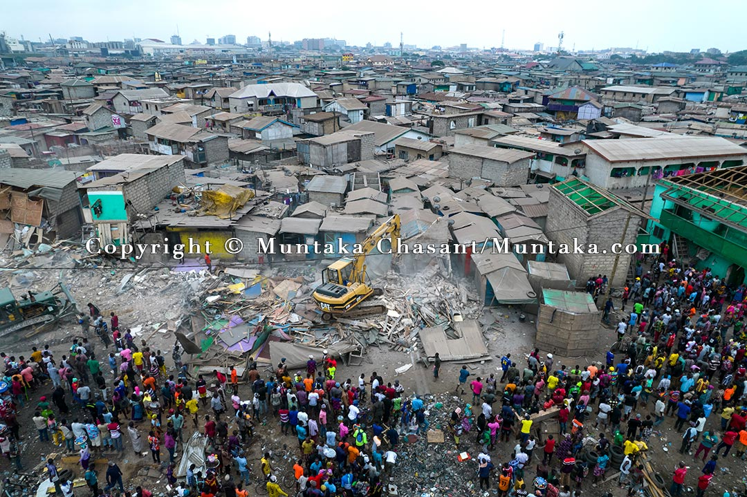 Sections of the Old Fadama, the largest slum in Ghana, were demolished on August 7, 2021. More than 100,000 urban poor and rural-urban migrants who had moved to Accra in search of economic opportunities live in the informal settlement near the center of the capital city. Thousands of Old Fadama residents had worked as e-waste and scrap collectors, processors, and traders at the demolished Agbogbloshie Scrapyard. Copyright © Muntaka Chasant